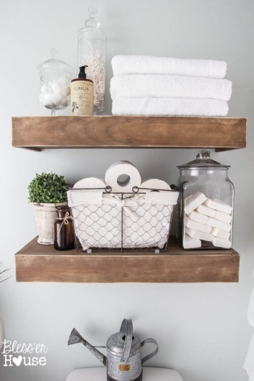 Farmhouse Style floating wood shelves via Blesser House