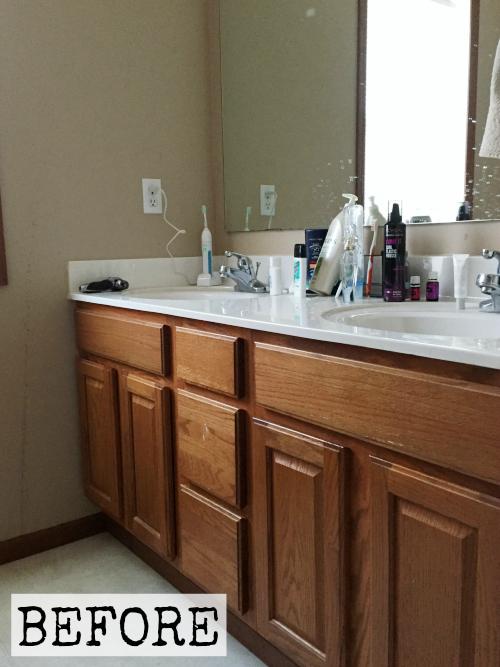Oak Vanity prior to vanity makeover