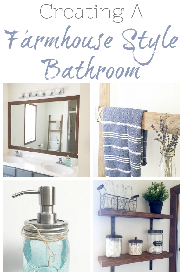 There are so many budget-friendly things we can add to a bathroom for a more rustic, farmhouse feel. I love these ideas of bringing in warm wood tones by framing a mirror or adding shelving.
