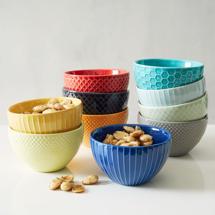 textured dipping bowls for organizing junk drawer