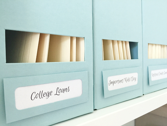 Great idea to store files in magazine holders!