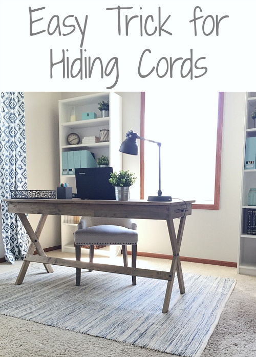 This trick to hiding cords in the office is so easy! Why didn't I think of this?!