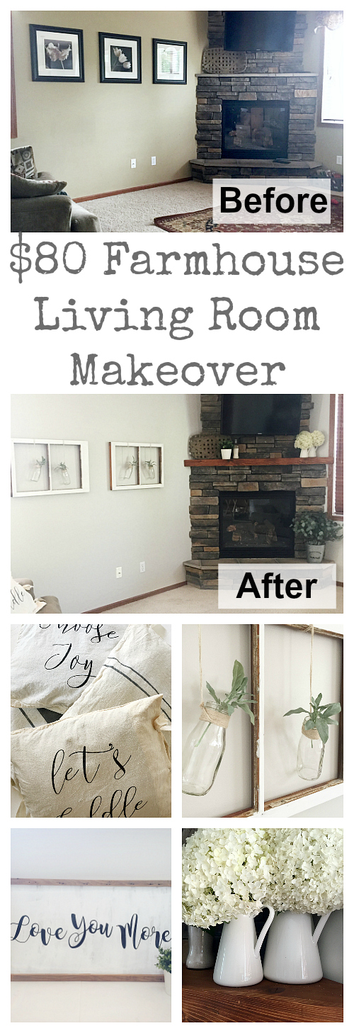 I cannot believe this living room makeover was done with only $80! It is incredible!