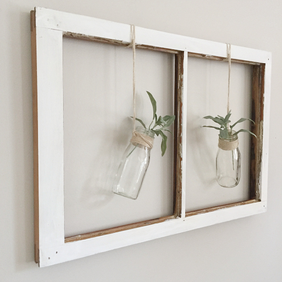 What a cute idea for adding farmhouse decor using an old chippy window!
