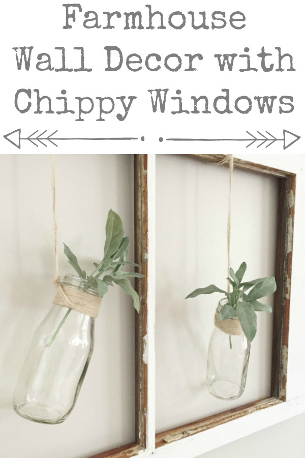 What a cute idea for adding farmhouse decor using an old chippy window! #farmhouse #farmhousestyle #farmhousedecor #farmhousewalldecor