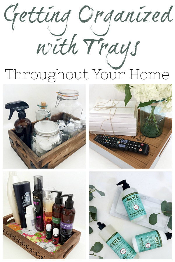 Get your home organized with trays. You can use trays to organize paper clutter in the office, toiletries in the bathroom, and mail in the entry. Check out this post for even more ways to use trays to organize your home.