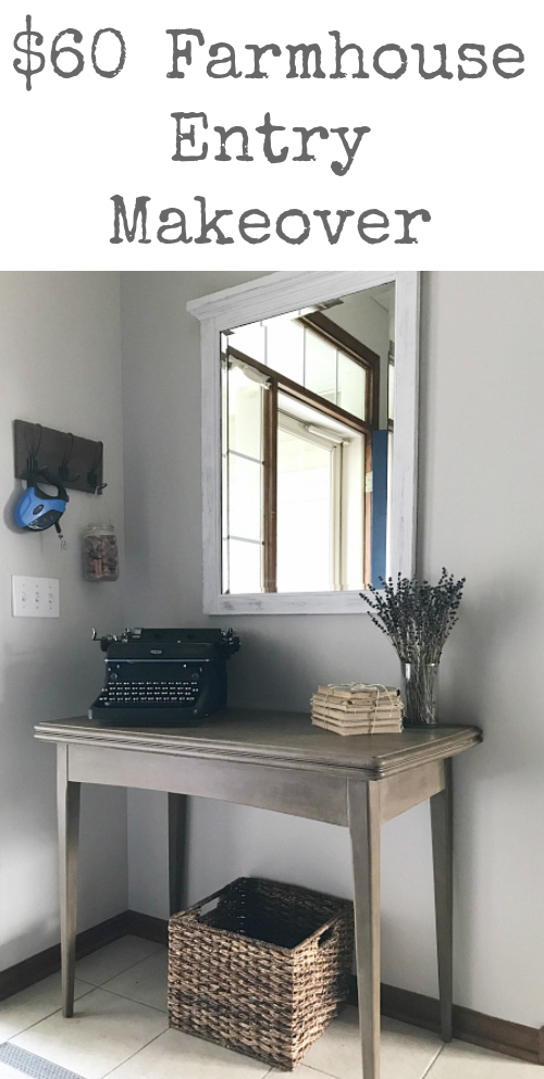 Love this farmhouse entry! I cannot believe it only cost $60 to make over!!!