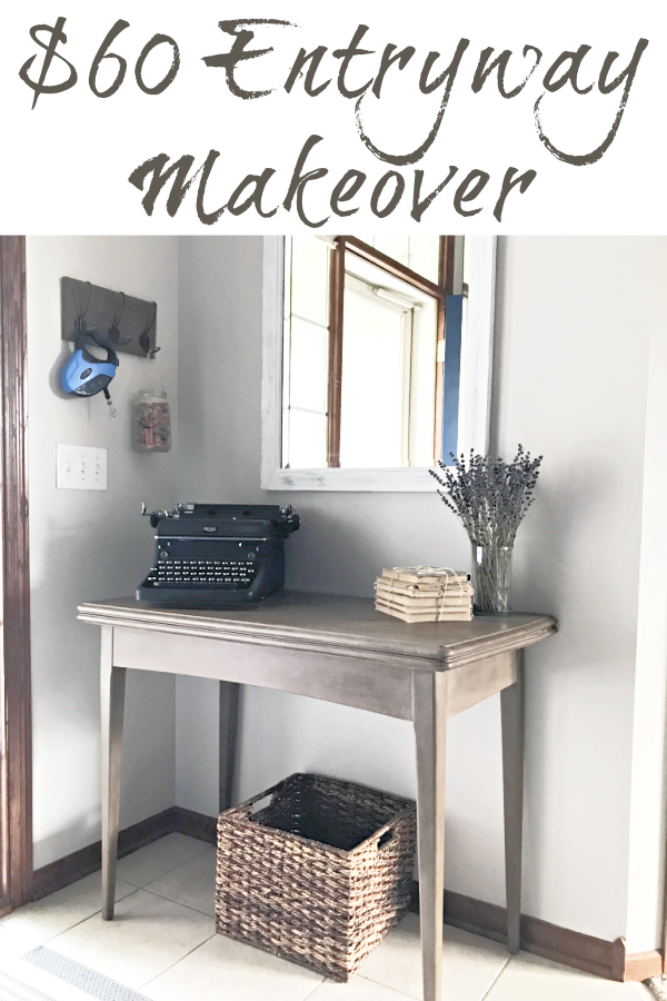 This entryway got a major farmhouse makeover for $60! Tons of great inspiration and DIY project ideas perfect for those that love the farmhouse style.