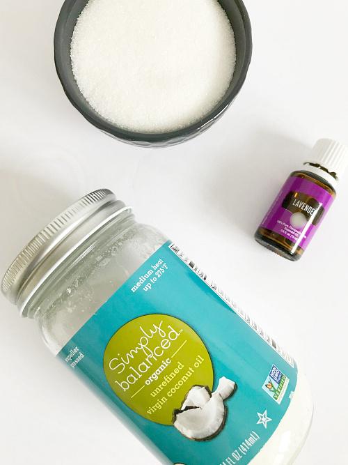 Ingredients needed to make DIY Sugar Scrub: Coconut oil, sugar, and lavender essential oil