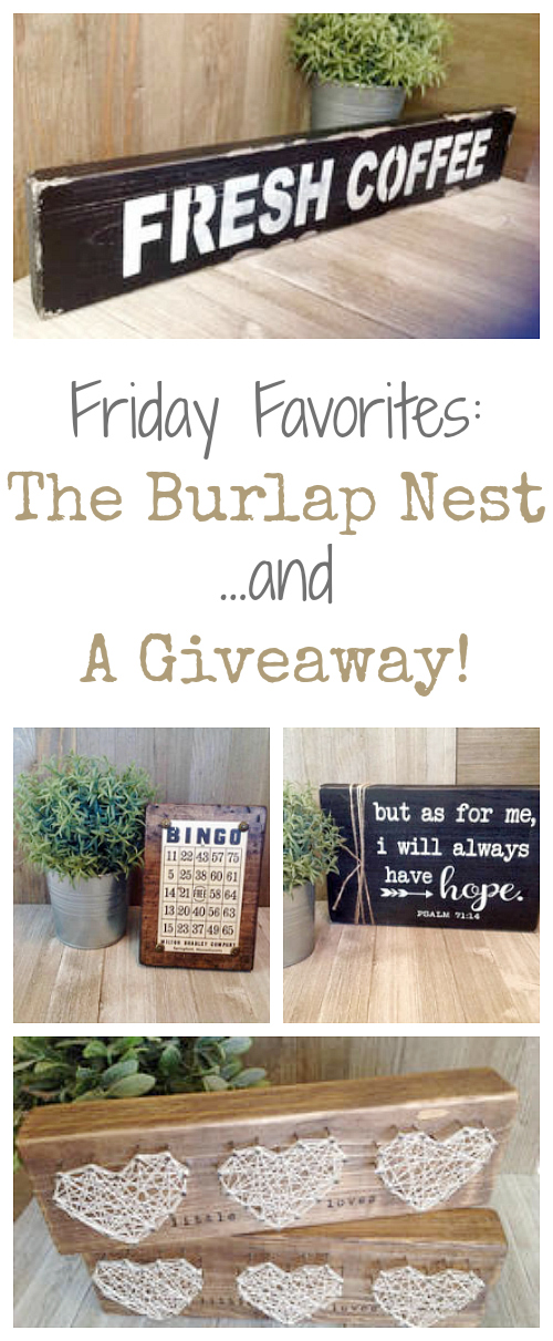 Love these items from The Burlap Nest... and who doesn't love a giveaway?!