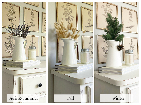 Styling a farmhouse pitcher throughout the seasons to show ways to save money on decor staples