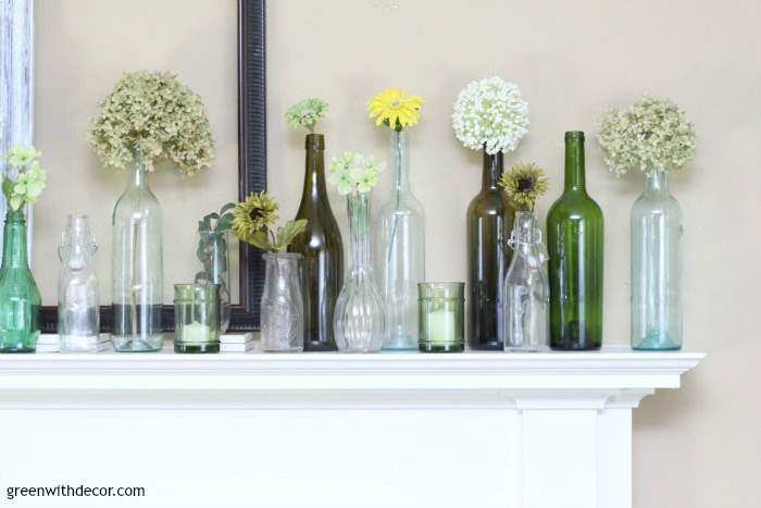 Springmanteldecoratingideasoldglassbottlesjarsflowers Awesome Decorating Ideas For Glass Jars