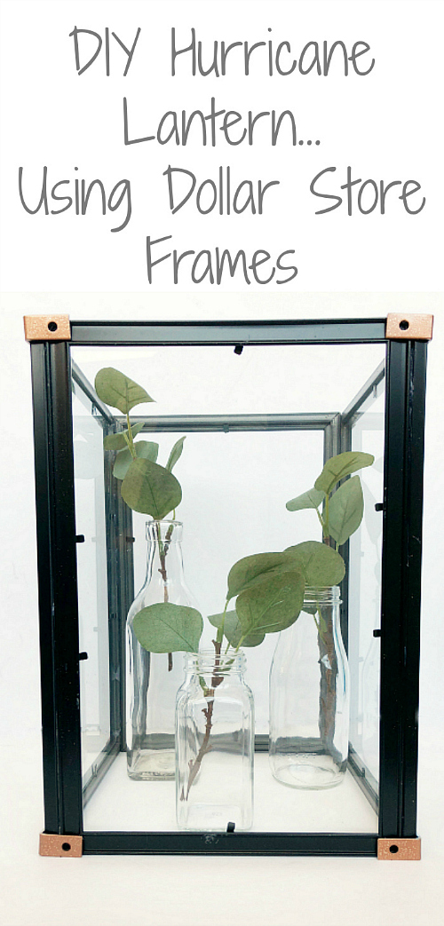 I cannot believe this hurricane lantern was made with dollar store frames! #dollarstorecraft