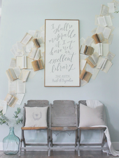Great ideas for using books and book pages in decor. So easy and so cheap! #books #bookpages #farmhouse #farmhousedecor #decoratingwithbooks