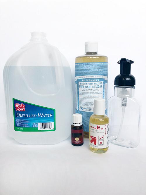 Ingredients needed to make DIY Foaming Hand Soap