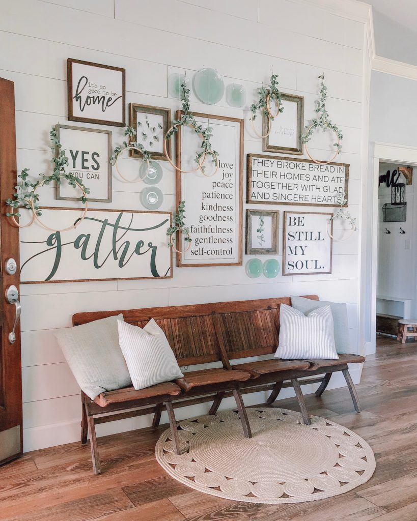 Farmhouse master bedroom inspiration gallery wall