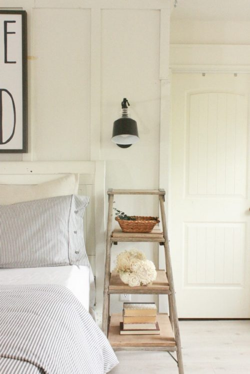 Loving these unique nightstand ideas. #bedroominspiration #nightstandideas