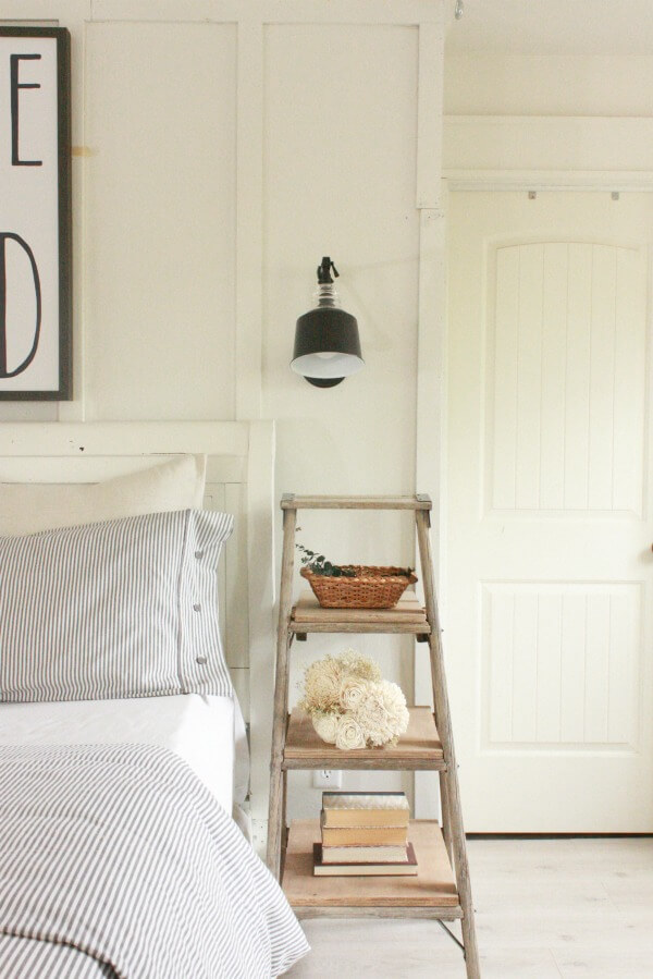 Farmhouse Master Bedroom Inspiration Wooden Ladder Nightstand