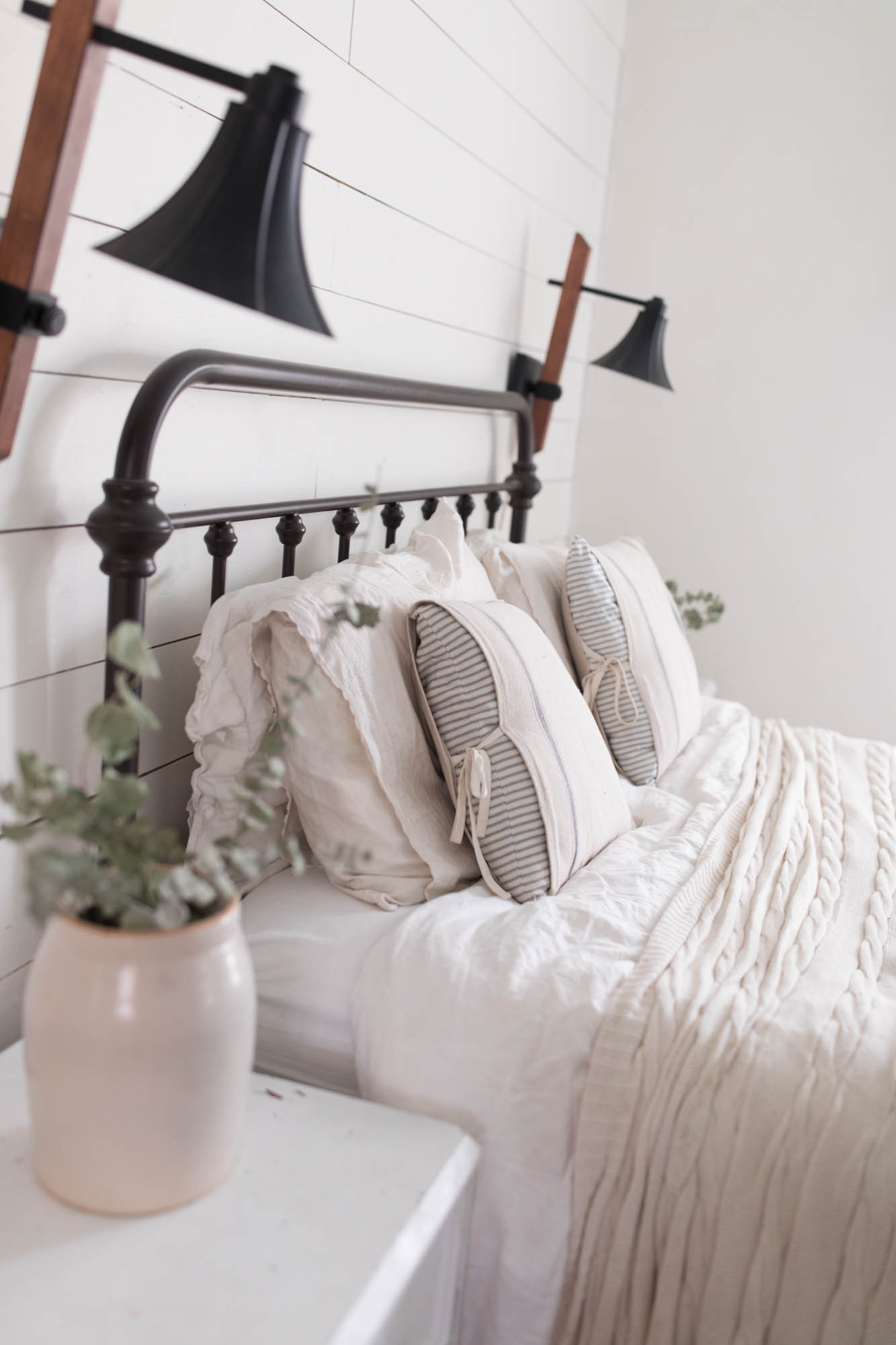 Farmhouse Master Bedroom Inspiration Ticking Stripe Pillows