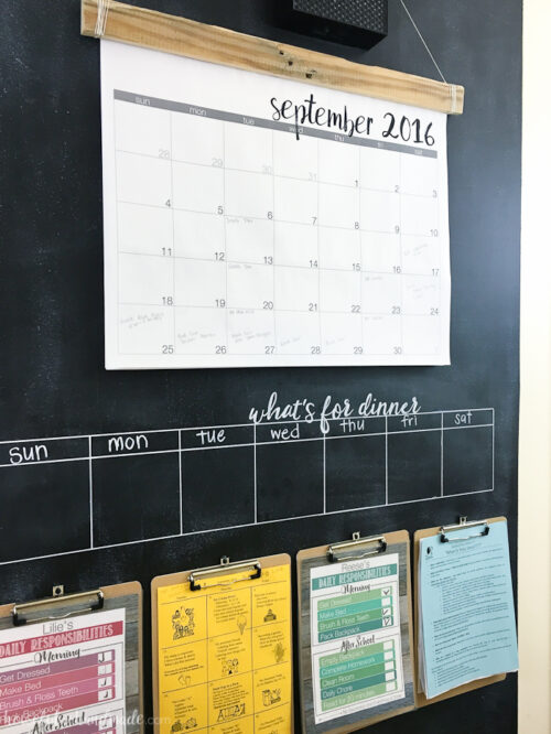 Houseful of Handmade creates a great command center featuring a monthly calendar, a weekly menu plan. and several clipboards for various paperwork; all on a chalkboard background.