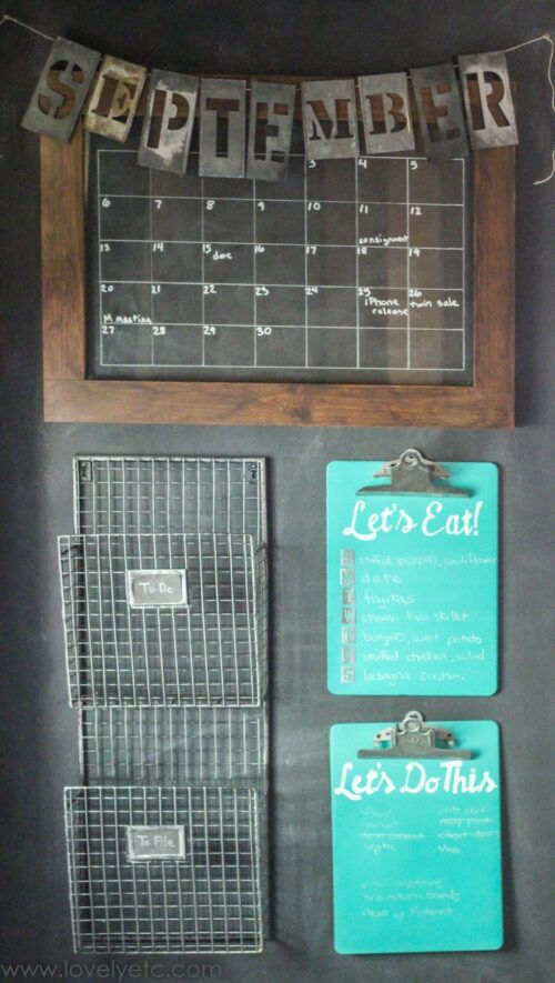 This command center idea is from Lovely Etc and utilizes blue clipboards for menu planning, a chalkboard calendar, and wire baskets to hold mail and other papers.
