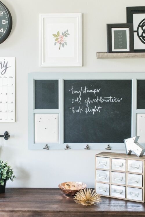 This command center idea comes from The Small Things and features a chalkboard with small clips and a paper calendar. Below the command center is a small card catalog style display which could serve to hold various items.