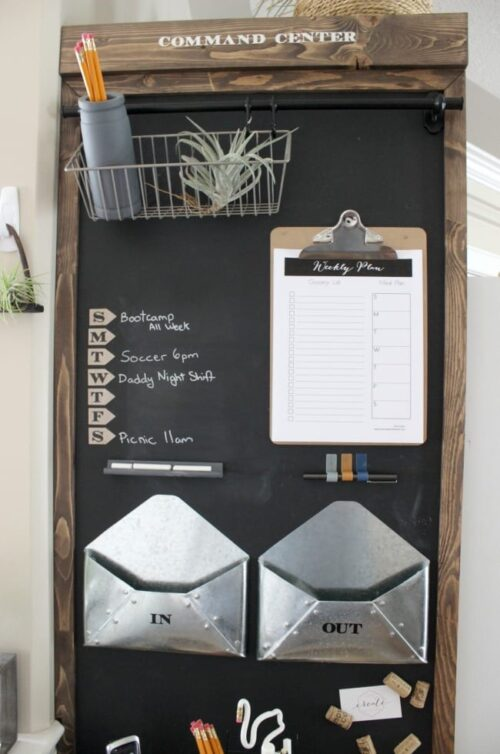 This small command center (via Love Create Celebrate) packs in a lot of great ideas; with everything from a printable weekly plan displayed on a clipboard to a weekly menu.