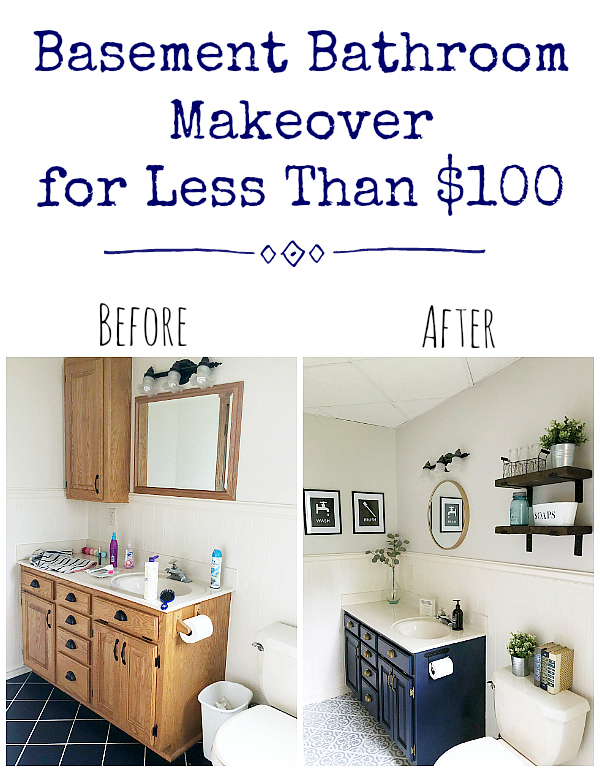 $100 Basement Bathroom Makeover Before and After
