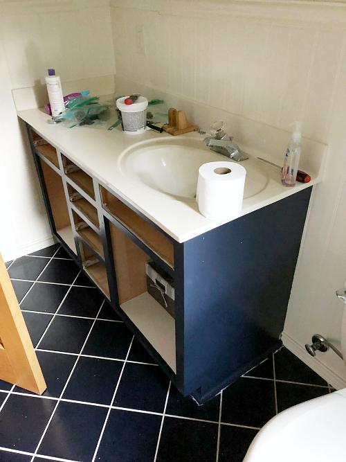 Basement Bathroom Makeover Vanity in Progress