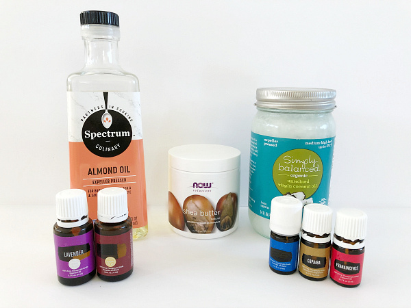 Ingredients needed to make body butter: shea butter, coconut oil, almond oil and essential oils