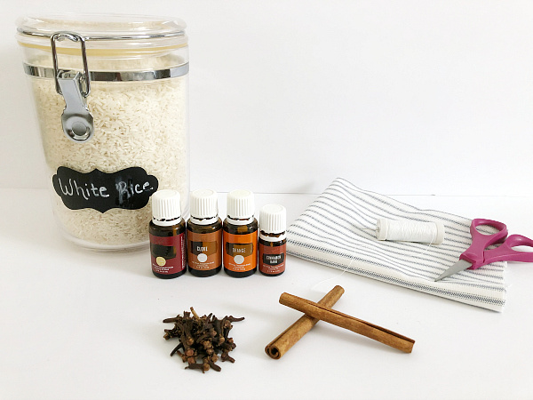 Items needed to make Scented Coasters: rice, spices, fabric, and essential oils