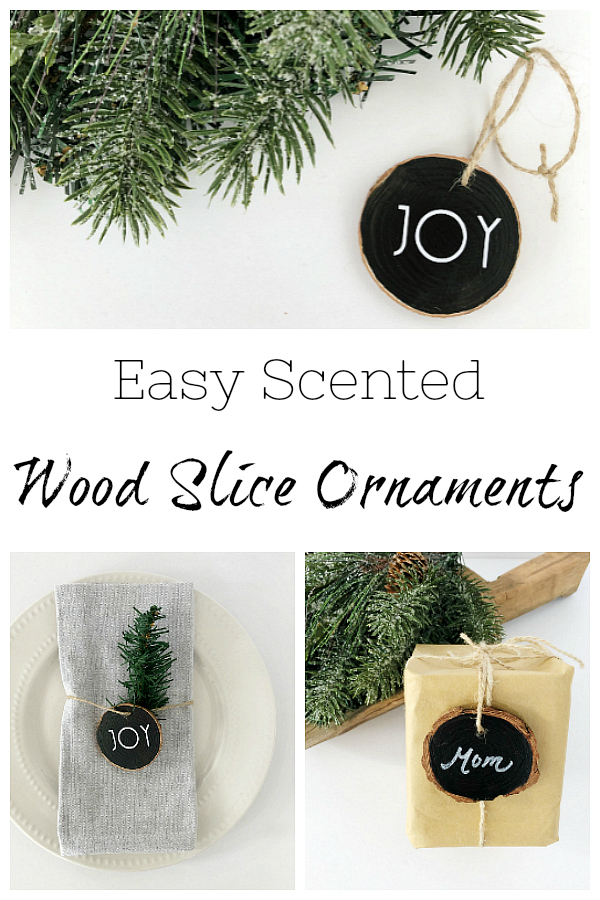 These scented wood slice ornaments are easy to make and can be used in so many ways: as an ornament on the tree, a napkin ring, or a gift tag.