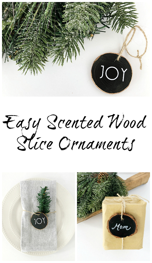 Such a great idea to make SCENTED wood slice ornaments. LOVE it! And the fact that you can use them all year long is perfect! #woodornaments #diyornaments #essentialoils #christmas