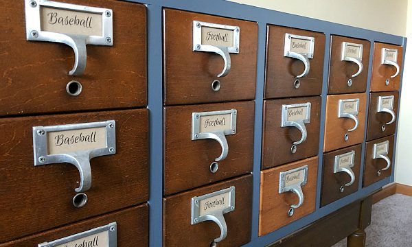 This idea is genius! Store football and baseball cards in a card catalog! Love the makeover! #baseballcards #organizationideas