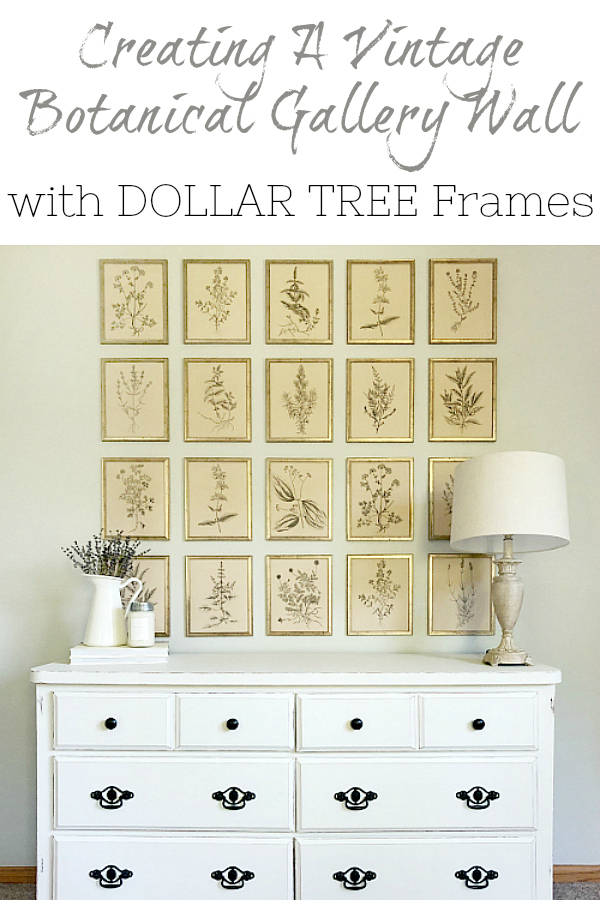 This botanical gallery wall was created with frames from the Dollar Tree and $10 printables. See how you can create a similar farmhouse style gallery wall in your home.