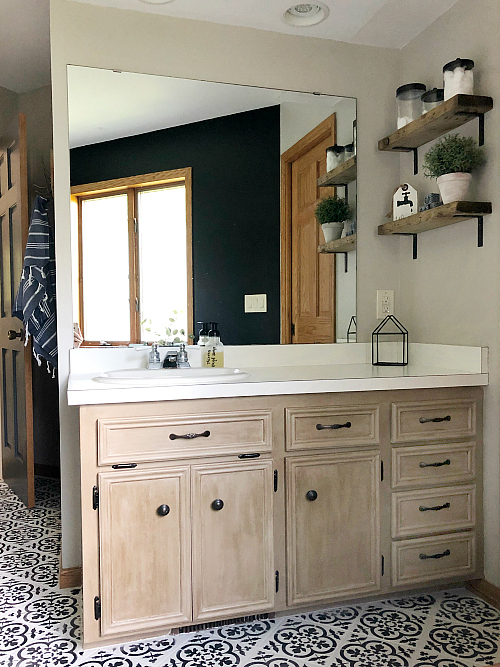 $100 Bathroom Makeover Vanity with weathered wood shelves