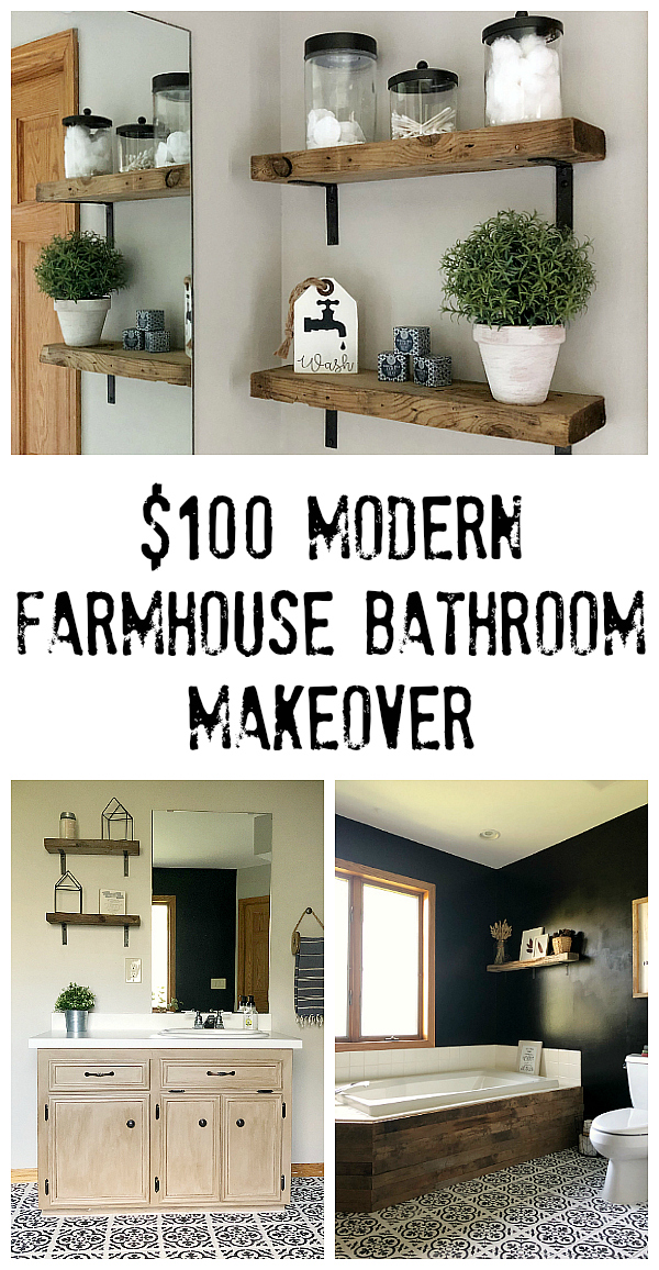 A Modern Farmhouse Bathroom Makeover with a budget of $100