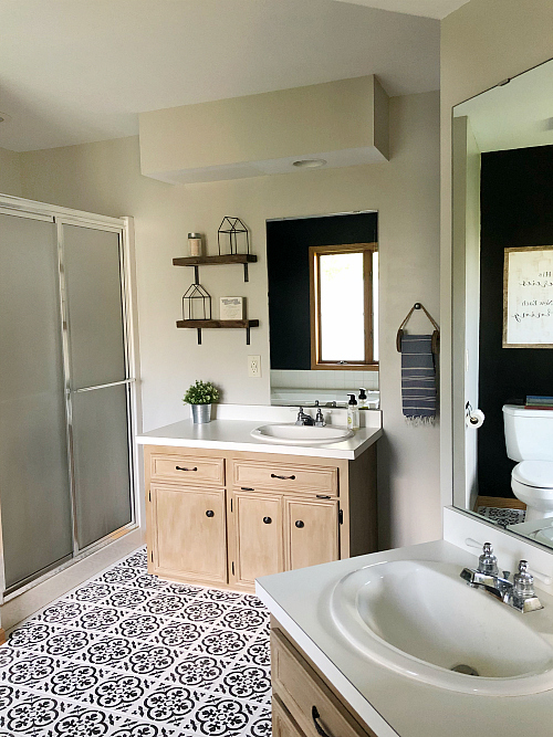 $100 Bathroom Makeover View of Vanities that have been redone
