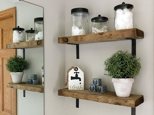 DIY Weathered Wood Shelves Styled in Bathroom