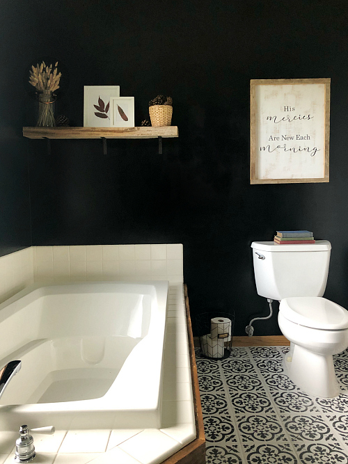 $100 Modern Farmhouse Bathroom Makeover Black Accent Wall