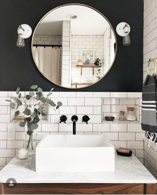 Black Accent Wall Against White Tile via Carpendaughter on Instagram
