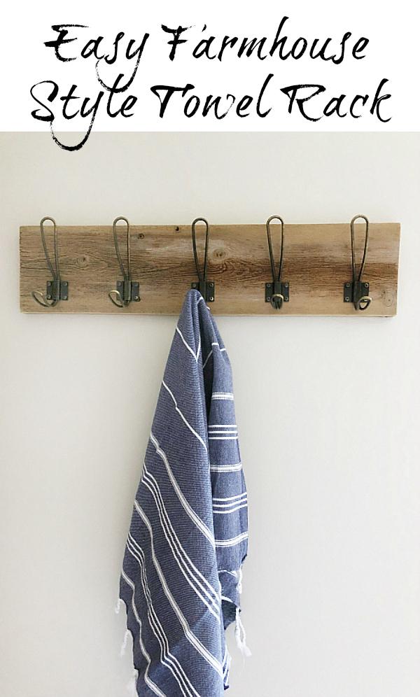Easy DIY Farmhouse Style Towel Rack for your bathroom.