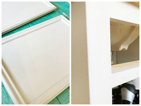 Hide Wood Grain After. Image of doors and vanity after two coats of chalk paint with no wood grain showing