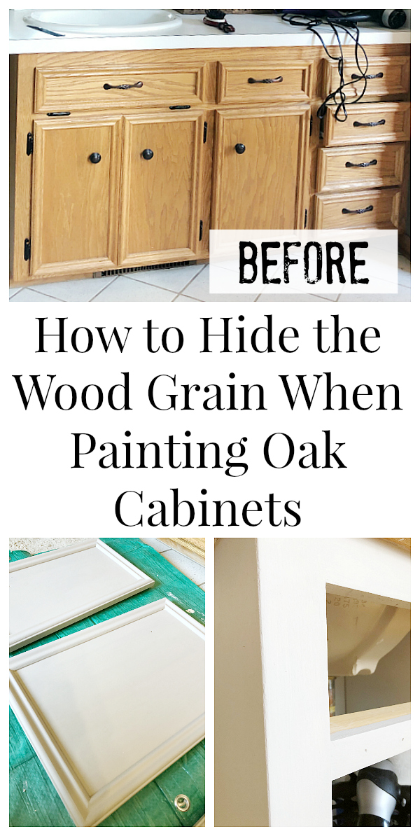 How to Hide Wood Grain when Painting Oak Cabinets Pinterest Image