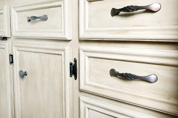 Vanity Makeover. Hide Wood Grain. Create a weathered wood look with chalk paint and dark wax.