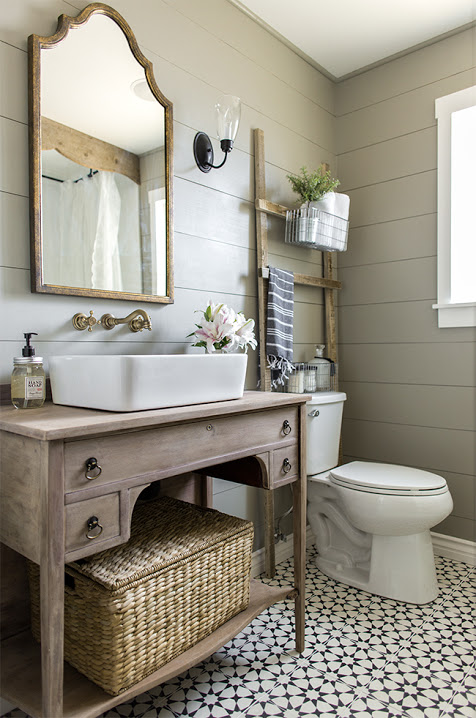 Beautiful Farmhouse Style Bathroom by Jenna Sue Designs. Inspiration for the $100 Room Challenge.