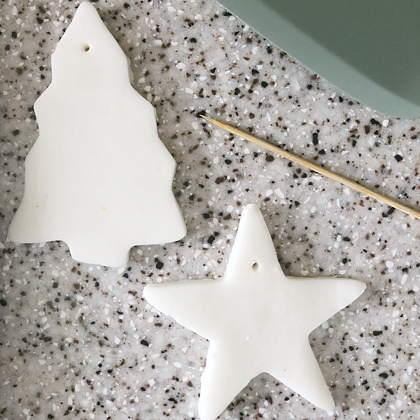 Hole Punched with Wood Skewer in top of Scented Clay Ornaments