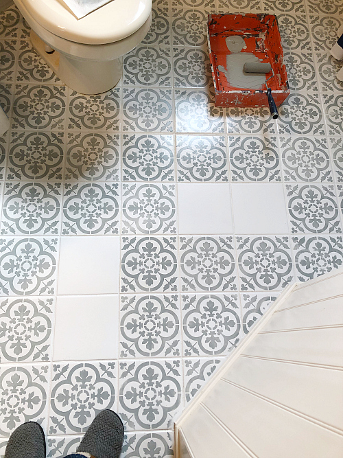 Priming Painting and Stenciling Floor Tiles