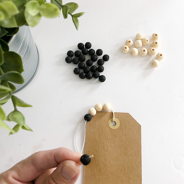 Threading Beads onto DIY Diffuser Bookmark