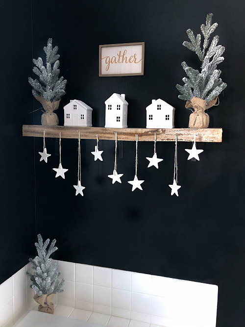 DIT Scented Clay Ornaments hanging from bathroom shelf